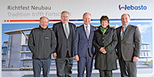 Webasto celebrates the topping out ceremony for its new administration and development center in Stockdorf.